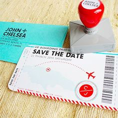 Set the tone with travel-themed save the dates: | 27 Travel-Inspired Wedding Ideas You'll Want To Steal