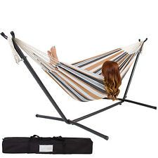 Best Choice Products Double Hammock With Space Saving Steel Stand Includes Portable Carrying Case, Desert Stripe *** Read more at the image link. (This is an affiliate link) Indoor Hammock, Hammock Chair, Swinging Chair, Indoor Outdoor, Outdoor Living, Outdoor Spaces, Rocking Chair, Wooden Hammock, Chair Bed