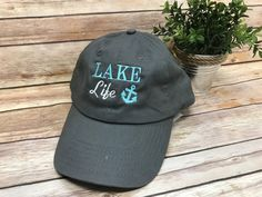 Lake Life Monogram Baseball Hat - Gray with Teal - Sew Cute By Katie School Spirit Wear, Embroidered Gifts, Altering Clothes, Monogram Gifts, Lake Life, Baseball Hats, Teal, T Shirts For Women, Sewing