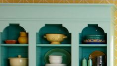 Customize your kitchen cabinets - Open kitchen cabinets with top moulding and scalloped trim