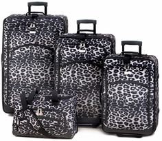 Snow Leopard Print Luggage Set Polyester Best Travel Safari Rolling Suitcases for sale online Best Luggage, Luggage Sets, Travel Luggage, Travel Bags, Luggage Suitcase, Travel Set, Air Travel, Travel Stuff, White Leopard