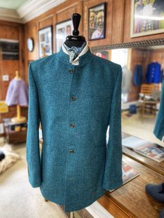 bespoke nehru collar jacket made in a lovely tweed Nehru Jackets, Chef Jackets, Bespoke Clothing, Tweed, Men Sweater, Sweaters, Clothes, Fashion, Outfits