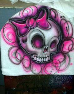 Custom Airbrush Cute Girly Skull winter Beanie by Whimsyintheair Girly Skull Tattoos, Skull Girl Tattoo, Girl Skull, Sugar Skull Girl, Sugar Skull Tattoos, Skull Tattoo Design, Skull Art, Body Art Tattoos, Tattoo Drawings