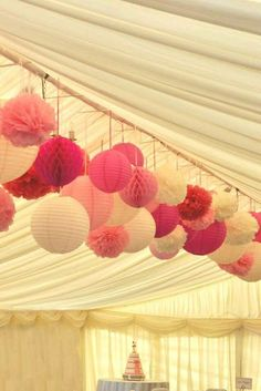 Multiple pink shades – paper lanterns, pom poms and honeycomb balls for a marque… Multiple pink shades – paper lanterns, pom poms and honeycomb balls for a marquee wedding Wedding Lanterns, Marquee Wedding, Wedding Reception Decorations, Diy Wedding, Wedding Flowers, Dream Wedding, Wedding Ideas, Wedding Lighting, Party Tent Decorations