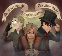 The Mad Trio - Dr Frankenstein, Rumplestiltskin, and Jefferson/the Mad Hatter - OUaT fan art by kamadens on Tumblr