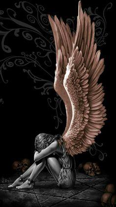 ❣Julianne McPeters❣ Tattoos of Hannah Sad Angel, Angel And Devil, Fantasy Kunst, Dark Fantasy Art, Cool Paintings, Landscape Paintings, Statue Ange, Dark Angel Wings, Wings Wallpaper