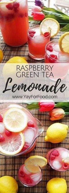 Homemade Raspberry Green Tea Lemonade - Raspberries - Ideas of Raspberries - Raspberry Lemonade Green Tea truly refreshing summer drink! This quick homemade lemonade is combined with raspberries and green tea to give it a wonderful sweet and t Best Non Alcoholic Drinks, Drinks Alcohol Recipes, Yummy Drinks, Healthy Drinks, Bbq Drinks, Drink Recipes Nonalcoholic, Alcoholic Desserts, Nutrition Drinks, Healthy Food