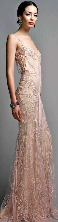 Zac Posen #nude #blush #embroidered #dress