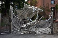 Most interesting gate of a dragon in Dublin, Ireland. I want it!!!