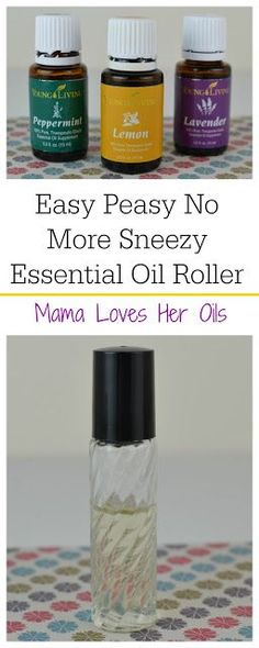 Easy Peasy No More Sneezy essential oil roller to help with occasional seasonal discomfort. From Mama Loves Her Oils!