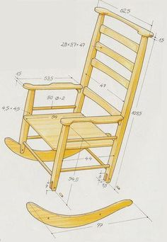 - Rocking Chair Drawing – # rocking chairs - projects that sell Woodworking Furniture, Pallet Furniture, Furniture Plans, Woodworking Tools, Woodworking Techniques, Furniture Buyers, Furniture Dolly, Luxury Furniture, Rocking Chair Plans