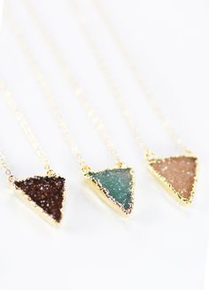 (So pretty!! I can't even decide which color I'd want, lol.) Nalukea necklace - gold druzy triangle pendant by kealohajewelry, $60.00