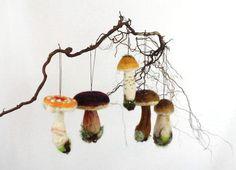 Three Needle Felted Mushroom Ornaments  by FernwoodFelting on Etsy