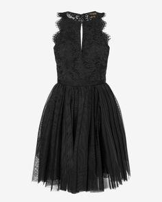 Lace open back dress - Black | Dresses | Ted Baker