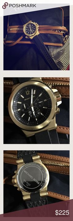 Mk8445 Dylan Chronograph Gold Watch AUTHENTIC Like new MK watch needs to replace battery. Navy blue (dark) band...Any questions please ask. I believe its for men but it looks better for women! I love a big face! Michael Kors Accessories Watches