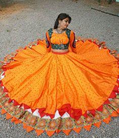 Long gypsy skirt costumes buy for contact on whatapp Garba Dress, Navratri Dress, Choli Dress, Ghagra Choli, Lehenga Designs Simple, Choli Designs, Blouse Designs, Dress Indian Style, Indian Dresses