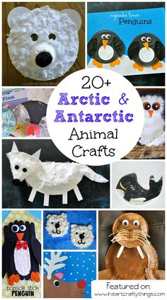 20+ Arctic & Antarctic Animal Crafts for Kids, perfect for winter craft time. Polar Bear crafts, penguins, snowy owls, walrus, reindeer, arctic fox and more.