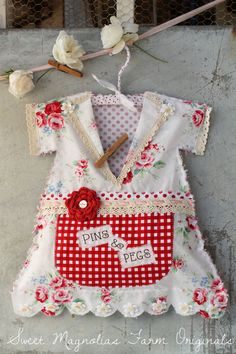 """Clothespin Bag Vintage Style Dress - """"Pins & Pegs"""" Crochet Lace, Polkadots, Roses, Gingham, Red, Shabby, Country, Cottage, Farmhouse Chic"""