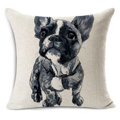 linen cotton cushion without inner french bulldog throw pillows