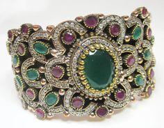 Unique Emerald Gemstone Silver Bronze Turkish Dazzling Shaped Bracelet  AU-7061 #SilvestoIndia #Friendship