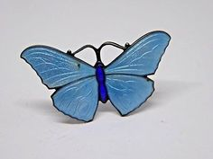 Antique J Aitkin & Son Hallmarked Silver and Enamel Butterfly Brooch - 1918