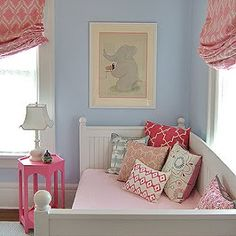 blue wall, girls room - pink roman shaded (But make mine lavendar walls for Baby S)