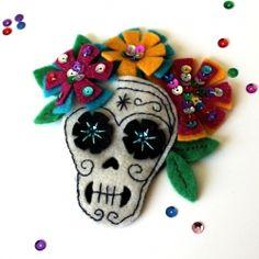 Hand-stitched felt Dia de los Muertos hair accessory