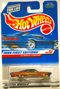 1998 - Mattel / Hot Wheels - 1965 Impala Lowrider (Purple w/Yellow Stripes) - 1998 First Editions #8 of 40 Cars - MOC - 1:64 Scale Die Cast Metal - Limited Edition - Collectible $0.19