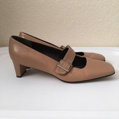 """Etienne Aigner Tan Mary Janes Etienne Aigner Mary Janes come in tan leather and have a 1 1/2"""" heel. Shoe Name: Sade. Size: 7 1/2. 100% Leather. True to size. Atienne Aigner Shoes Heels"""