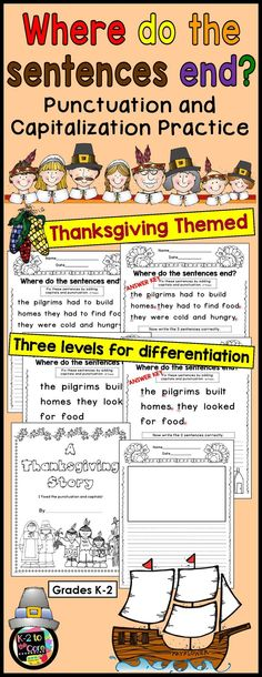 Provide your students with capitalization and punctuation practice with these differentiated editing and writing practice sheets. Each page has two or three Thanksgiving-themed sentences with missing capitals and punctuation. Your students' job is to figure out where the sentences end, edit the sentences, and then rewrite them with correct capitalization and punctuation, as well as neat handwriting.