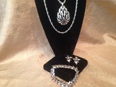 CROWN TRIFARI Silver Double Chain Modernist Necklace by GENEVEVES