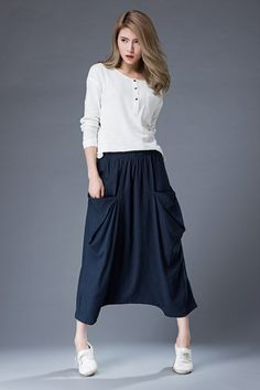 Blue Linen Pants - Modern Casual Comfortable Wide-Legged Culotte Skorts with Elasticated Waist & Large Front Pockets C867