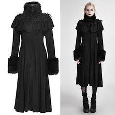 Black Embroidered Gothic Lolita Dress Overcoats Trench Coats Women SKU-11401484
