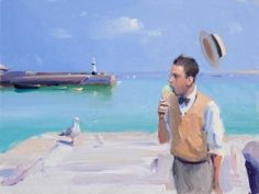 View all Alan KINGSBURY art, paintings and contemporary British art at the Red Rag art gallery Seaside Art, British Seaside, Seaside Towns, Ice Cream Art, St Ives, Fashion Painting, Great British, 2d Art, Contemporary Art