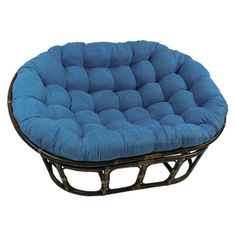 International Caravan Rattan Mamasan Double Papasan Chair with Tufted Microsuede Cushion   Overstock™ Shopping - Great Deals on International Caravan Living Room Chairs