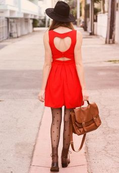 Red Straps Back Heart Cut Out Pleated Dress - Sheinside.com Mobile Site