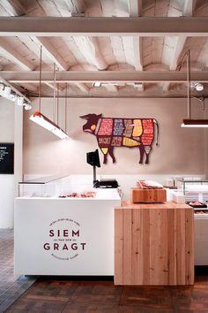 Butcher Store, Local Butcher Shop, Architecture Restaurant, Restaurant Design, Store Design, Shop Interior Design, Carnicerias Ideas, Meat Store, Supermarket Design