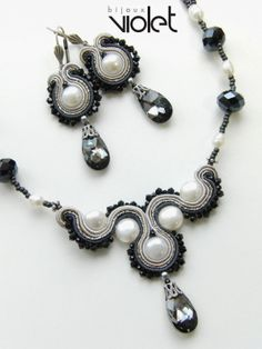 Shop for soutache on Etsy, the place to express your creativity through the buying and selling of handmade and vintage goods. Leather Jewelry, Beaded Jewelry, Handmade Jewelry, Beaded Bracelets, Soutache Pendant, Soutache Necklace, Soutache Tutorial, Embroidery Jewelry, Jewelry Design