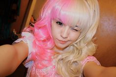 Cotton candy pink & Blonde hair.