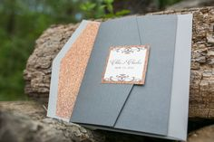 Rose Gold, Copper, Silver Invitations by Admire Design, Folder Invitations, Engraved Wedding Monogram, Glitter Paper, Shiny Paper, Shimmer Paper, Orchard Wedding Photography: Simply K Studios - www.simplykstudios.com @candisfloral | @5thAveWeddings