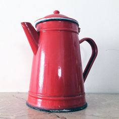 French vintage enamel coffee pot enamelware coffee by NorthtoByske