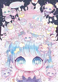 Aaaaaaah sooo so fucking pretty! Anime Chibi, Kawaii Anime, Art Kawaii, Kawaii Chibi, Cute Chibi, Manga Anime, Anime Art, Chibi Bunny, Kawaii Drawings