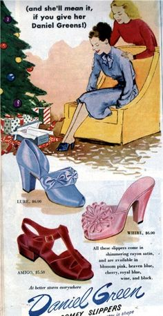 Daniel Green Slippers of the and Late Early Vintage Shoes Advertising-Daniel Green Slippers-Vintage Magazine Ads. Fashion/ Fashion/ Vintage Ad/ Illustration/ Christmas Gift Source by Fashion ads 1940s Shoes, Retro Shoes, Vintage Shoes, Vintage Outfits, Vintage Fashion 1950s, Mode Vintage, Vintage Ads, Vintage Style, Vintage Couture