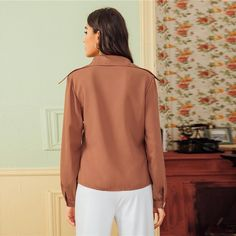 Women's Casual Polyester Long-Sleeved Shirt With Buttons | ZORKET | Material: Polyester • Style: REGULAR, Casual • Decoration: Button • Collar: Turn-Down Collar • Type: Solid, Broadcloth • Fabric: Fabric Has No Stretch