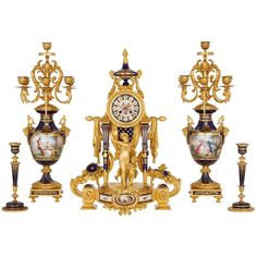 For Sale on - This magnificent five-piece clock set is designed in the style of century porcelain produced by the famous Sèvres Manufactory in France. The set is