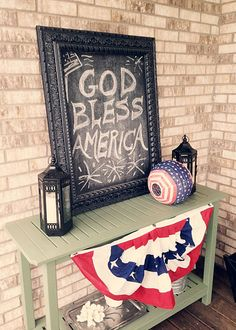 Laurie Jones Home - Forth of July Front Porch Table - Love that she takes these same few items and changes for the seasons/holidays
