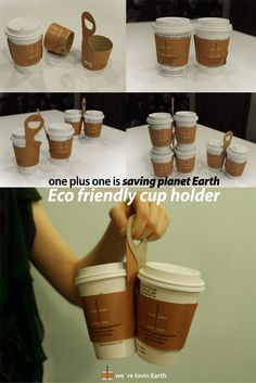 One Plus One Coffee Cup Sleeve And Carry-Away Package Design by Jin Won Park -- Genius! So much easier to carry multiple drinks. My Coffee Shop, Coffee To Go, Great Coffee, Coffee Mugs, Take Away Coffee Cup, Coffee Shops, Coffee Tables, Coffee Carts, Coffee Truck