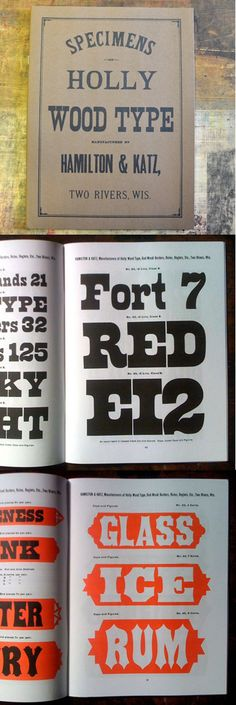 """Hamiliton & Katz Type Specimen Book  9"""" x 12"""", 62 pages, soft cover. This handsome facsimile, published by Dave Peat and Rich Hopkins, is based on the original book which dates from 1884. No pages have been left from the original publication. A really great example of many varieties of wood type styles. $15.00"""