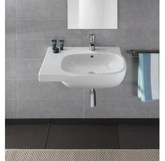 Bissonnet Moda Vitreous China Wall Mount Bathroom Sink with Overflow Corner Sink Bathroom, Small Bathroom Sinks, Undermount Bathroom Sink, Faucet, Lavatory Sink, Basement Bathroom, Bathroom Flooring, Contemporary Bathroom Sinks, Bohemia Glass