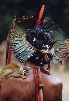 Northern Brazil | Kayapo man with a monkey on his shoulder.  Altamira, Pará.  1989 | ©Rosa Gauditano